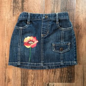 Old Navy Denim Skirt 4T with Hand Painted Poppy
